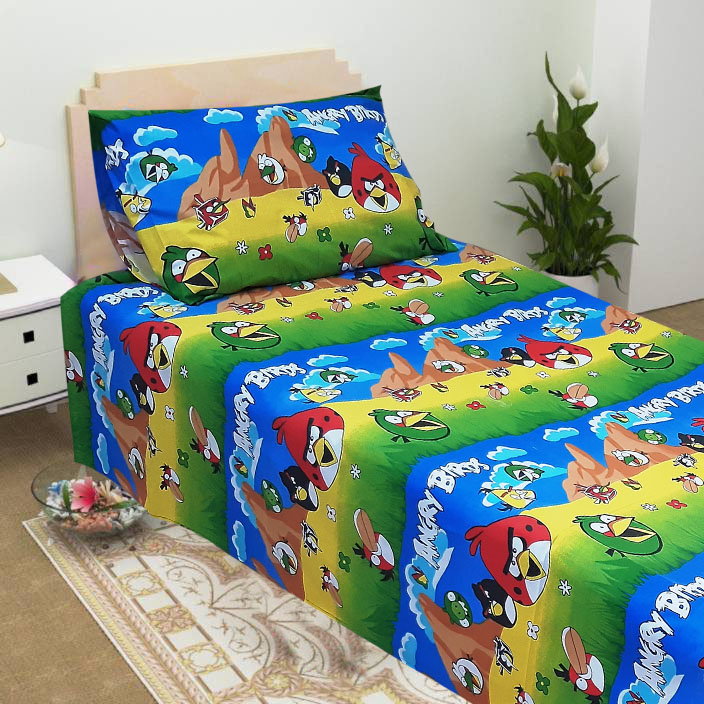 Angry Birds Cartoon bedsheet on a bed