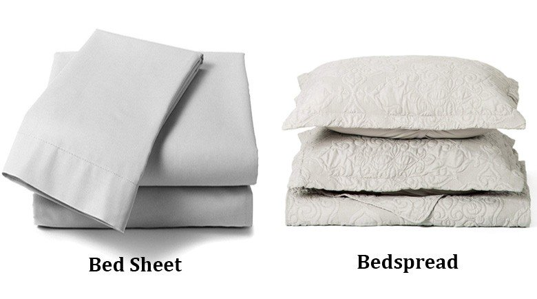 bedsheet and bedspread side by side